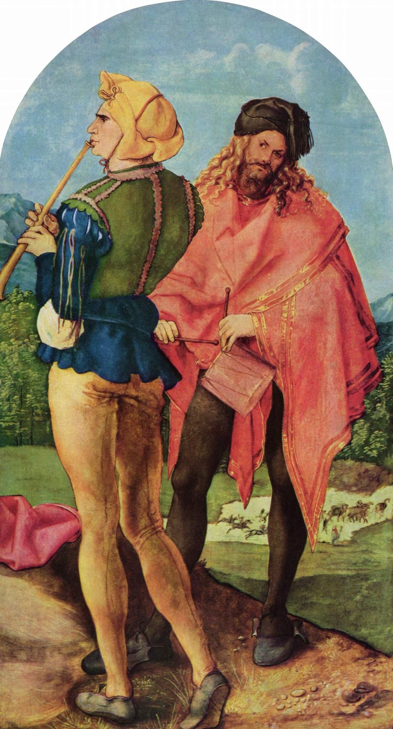 Albrecht Dürer. The Job Of The Altar (The Altar Abacha). Right panel: the Drummer and flutist