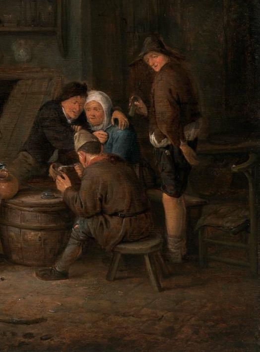 Peasants celebrating around the barrels