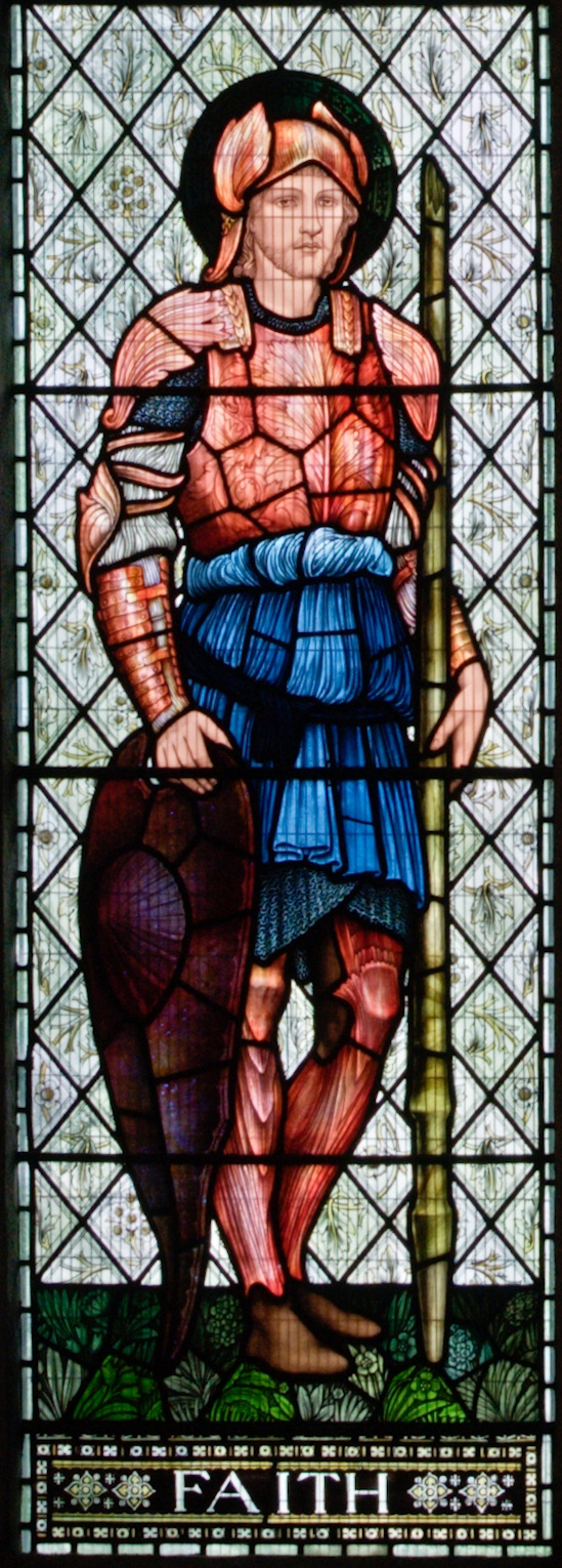 """William Morris. """"Window of Lucy,"""" a stained-glass window of the church of the abbey of Malmesbury. Fragment. Vera"""