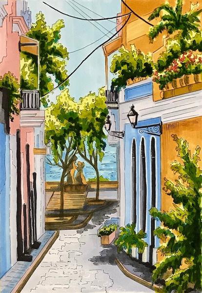 Larissa Lukaneva. Seaside street. Sketch.