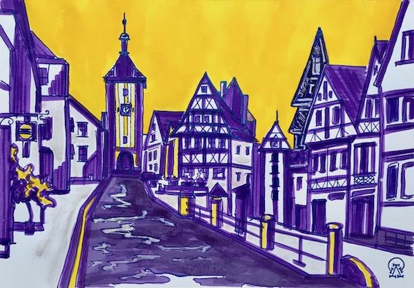 Larissa Lukaneva. German town. Sketch.