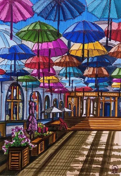 Larissa Lukaneva. Krasnoyarsk. Umbrellas. Sketch.