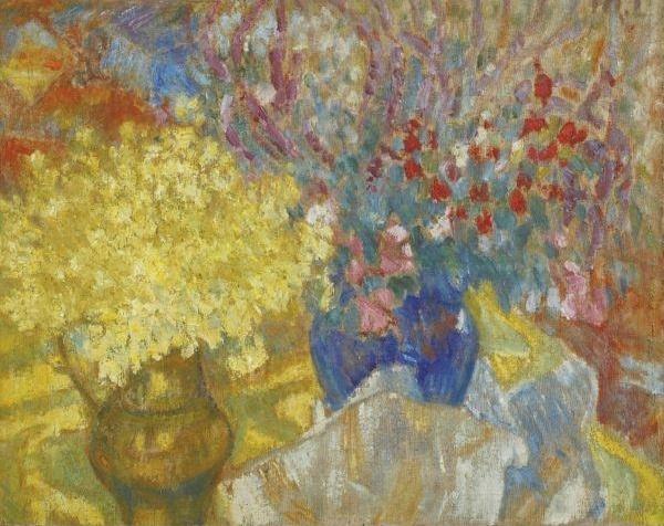 Михаил Федорович Ларионов. Два кувшина с цветами