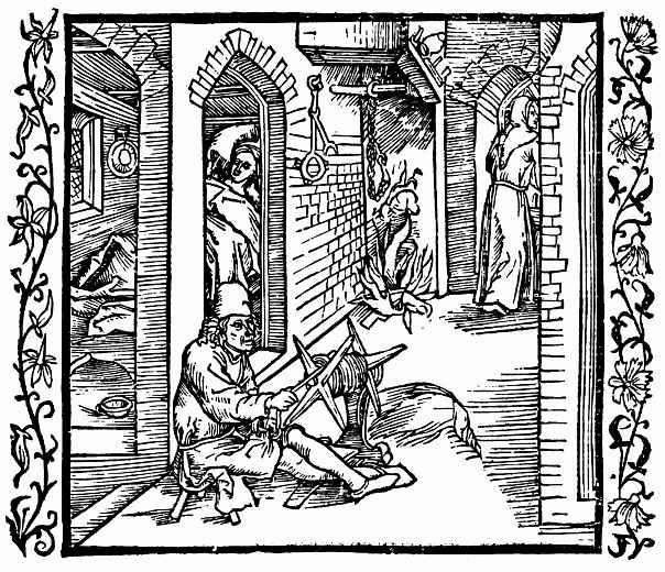 Альбрехт Дюрер. Верёвочник видит монаха, выходящего из покоев его жены