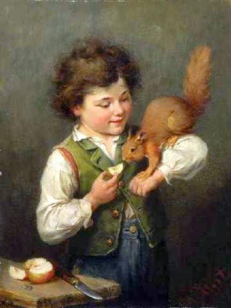 Генрих Хирт. Мальчик с белкой