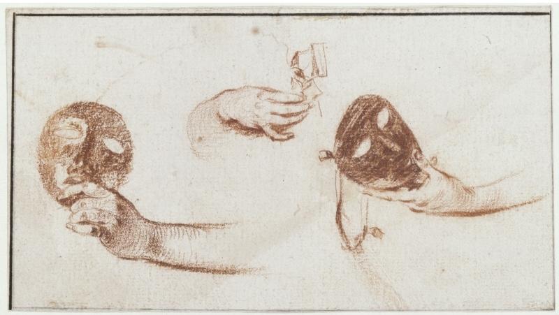 Антуан Ватто. Эскизы рук и масок