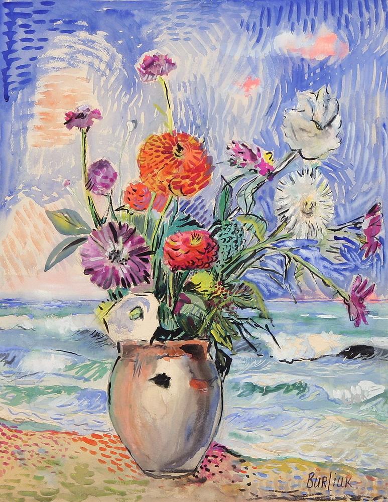 Давид Давидович Бурлюк. Цветы в белой вазе у моря
