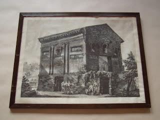 Луиджи Россини. Veduta del Tempio delle Camene, da altri del Dio Ridicolo -  fuori di Porta Latina nella Valle della Caffarella