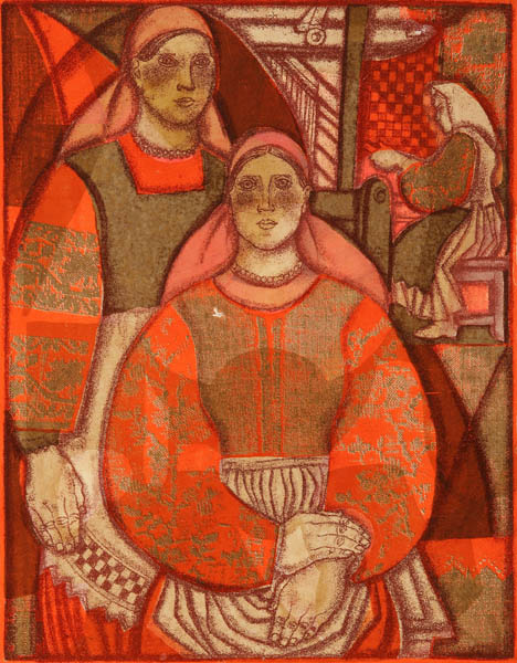 """Alexandra Followed Onufrievna. Weavers. From the series """"Folk Masters"""". 1973. Color lithograph on paper. 50,5x40"""