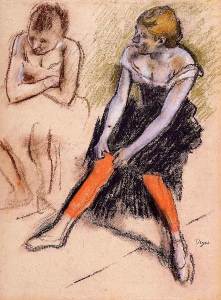 Edgar Degas. Ballerina in red stockings