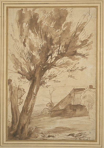 Anthony van Dyck. Landscape with tree and farmhouse