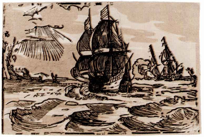 Хендрик Гольциус. Морской пейзаж с двумя парусниками