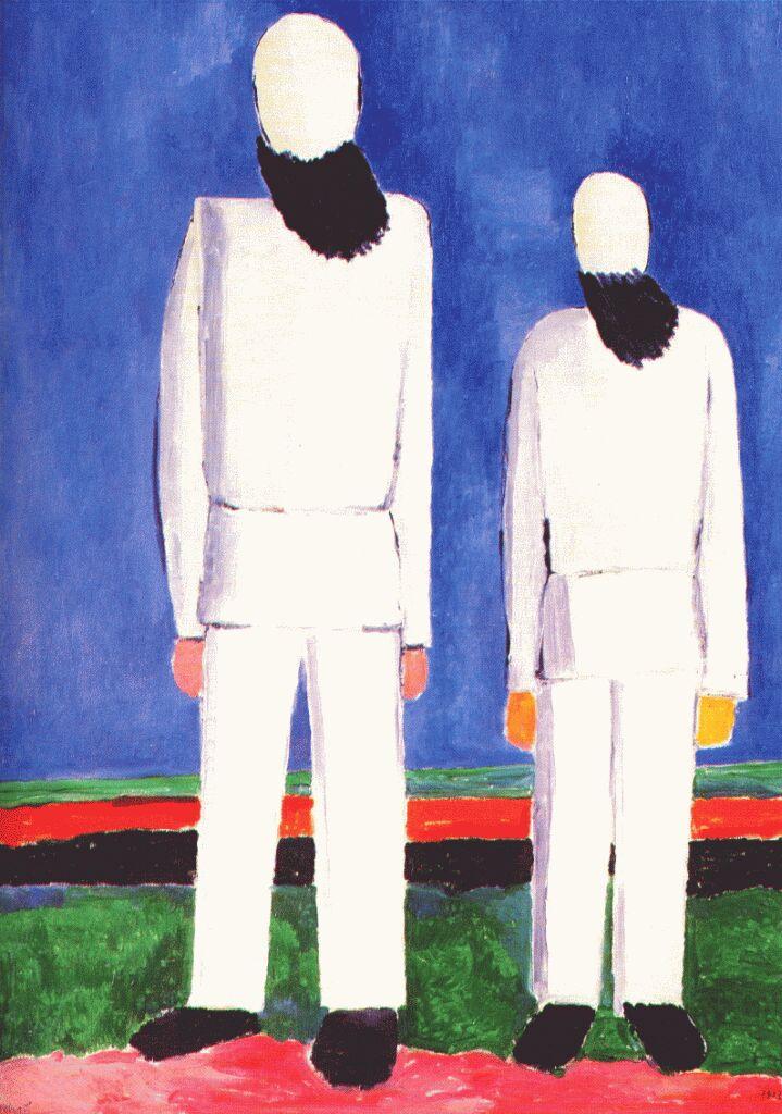 Казимир Северинович Малевич. Два мужика на синем фоне