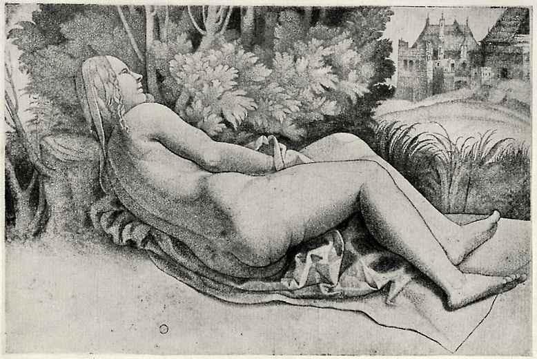 Джулио Кампаньола. Лежащая обнаженная в пейзаже