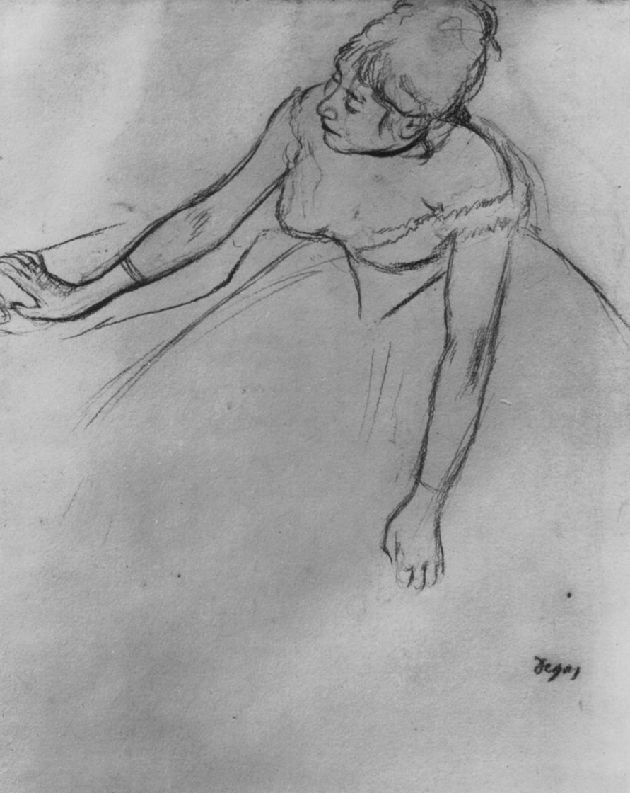Edgar Degas. Ballerina with her arms out leaning forward
