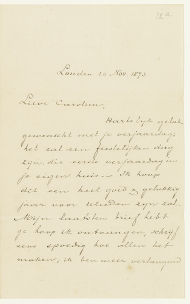 Vincent van Gogh. A Letter To Carolina Haanebeek. 20 November 1873 the First part