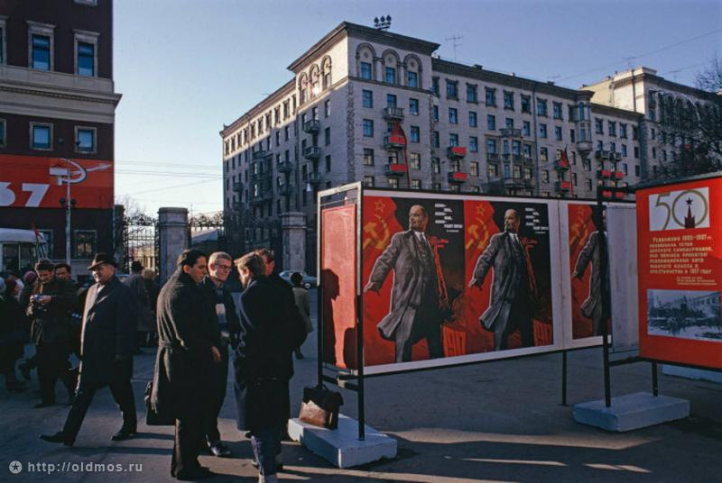 Historical photos. Festive campaign for the 50th anniversary of the October Revolution in Moscow