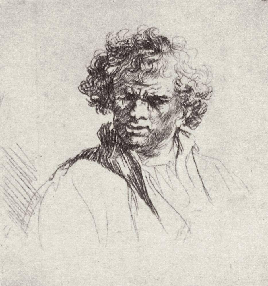 Рембрандт Харменс ван Рейн. Голова мужчины с полуоткрытым ртом