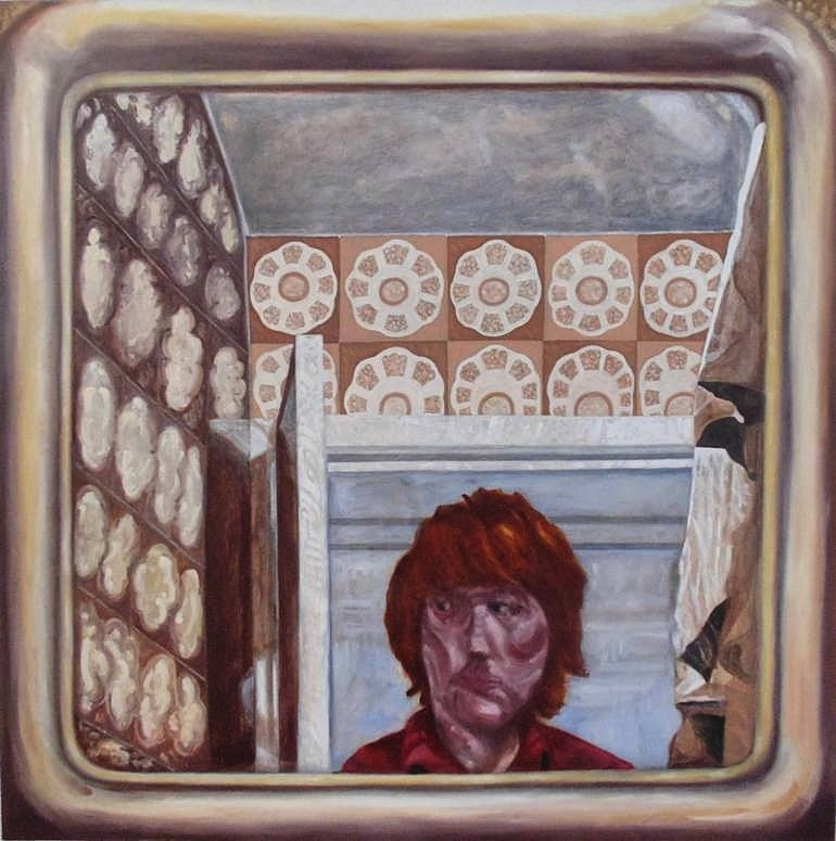 Chris Waddington. Self Portrait: Reflection in a Bathroom Mirror.