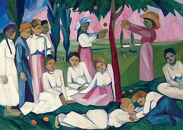 Natalia Goncharova. Apple picking