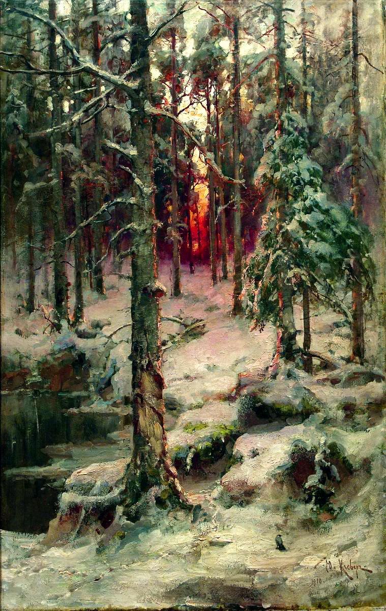 Julius Klever. Winter. Pine forest
