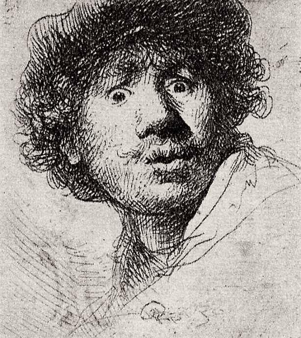 Рембрандт Ван Рейн. Автопортрет с вытаращенными глазами