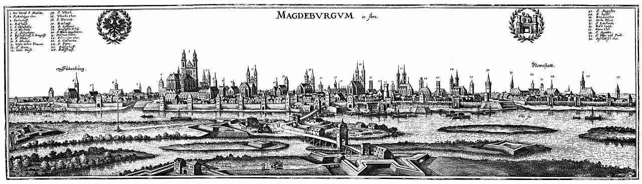 Маттеус Мериан Старший. Магдебург, вид с востока