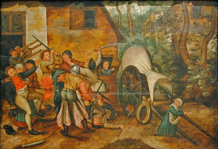 Peter Brueghel the Younger. The fight of the peasants with the soldiers
