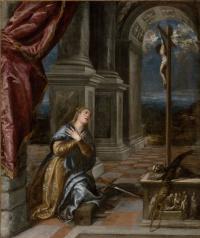 Тициан Вечеллио. Святая Екатерина Александрийская в молитве