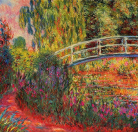 The Japanese bridge (the Pond with water lilies, irises)