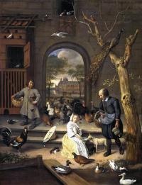 Ян Стен. На птичьем дворе. Портрет Бернардины Маргарет ван Рейсфелт