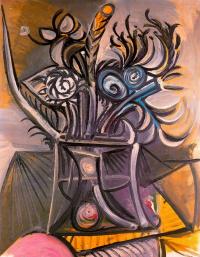 Пабло Пикассо. Ваза с цветами на столе