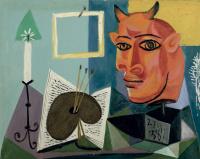 Пабло Пикассо. Натюрморт со свечой, палитрой и красной головой Минотавра