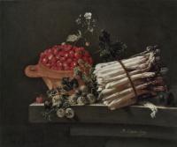 Адриан Коорт (Коорте). Натюрморт с клубникой, крыжовником и спаржей