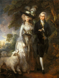 Morning walk. Portrait of squire William Hallet with his wife Elizabeth