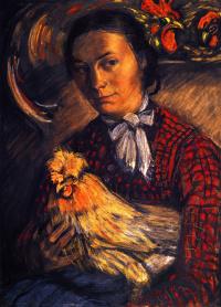 Портрет жены фермера с курицей