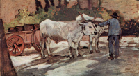 A farmer with an ox-drawn wagon