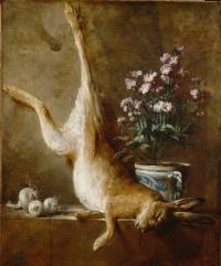 Жан Батист Симеон Шарден. Натюрморт с кроликом и цветами