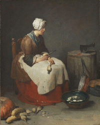 Cook, cleaning turnips