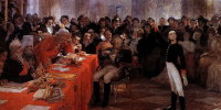 """A. S. Pushkin on the act in the Lyceum Jan 8 1815 reads his poem """"Recollections in Tsarskoye Selo"""""""