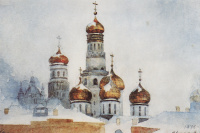 Ivan the Great bell tower and domes of the assumption Cathedral