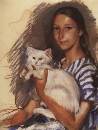 Зинаида Евгеньевна Серебрякова. Портрет Наташи Лансере с кошкой