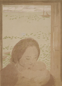 The mother and child at window