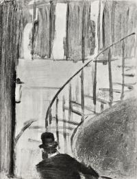 Эдгар Дега. Людовик Галеви, поднимающийся по лестнице