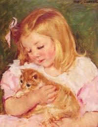 Сара держащая кота