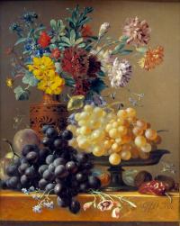 Георг Якоб Иоганн ван Ос. Натюрморт с фруктами и цветами в греческой вазе