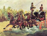 Анри де Тулуз-Лотрек. Граф Альфонс де Тулуз-Лотрек правит упряжкой из четырех лошадей