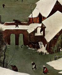 Охотники на снегу. Фрагмент 4. Мост через замерзшую реку