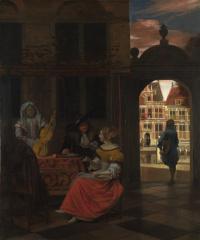 Питер де Хох. Музыкальный вечер во дворике