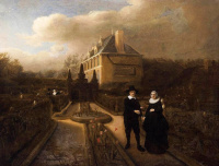 Самюэл ван Хогстратен. Портрет Йохана Корнелиса Видгебума и его жены Анникен в саду их дома